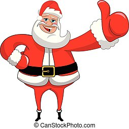 Santa Claus big thumb up isolated