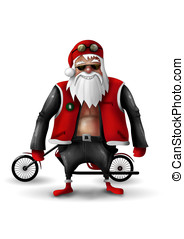 Santa Claus Biker isolated on white
