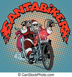 Santa Claus biker motorcycle Christmas gifts pop art retro...