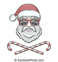 Santa Claus biker with candy cones and hipster glasses print...