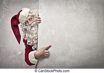 Santa Claus billboard - funny santa claus pointing on blank...
