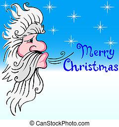 Santa Claus blowing wind