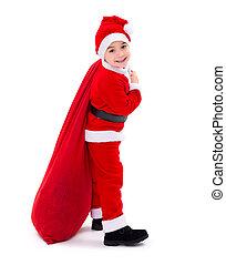 Santa Claus boy carrying gift bag