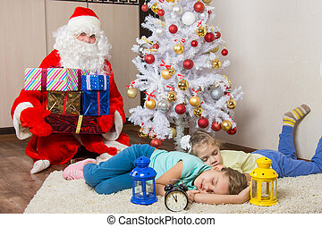 Santa Claus brought gifts for New Year's Eve and softened...