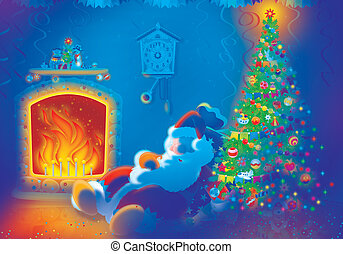 Santa Claus by the fire - The night before Christmas, Santa...