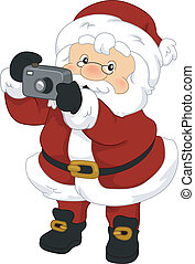 Santa Claus Camera - Illustration of Santa Claus Holding a...