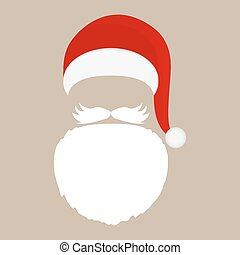 Santa Claus cap, beard and mustache
