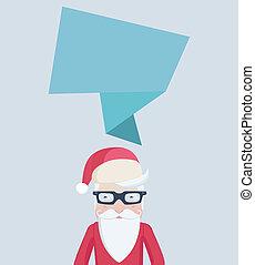 Santa Claus card design with a speech bubble