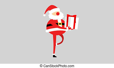 Santa Claus carries gift  box with a red bow - cycle of walking