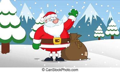 Santa Claus Cartoon Character Waving. 4K Animation Video ...
