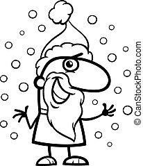 santa claus cartoon coloring page