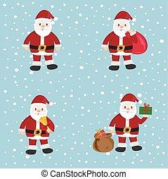 Santa Claus, cartoon, set, vector illustration