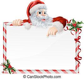 Santa Claus Cartoon Sign with Santa peeking over a sign that...
