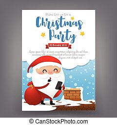 Santa claus cartoon with smart phone in hand Merry Christmas...