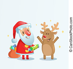 Santa Claus celebrating with his reindeer friend. Cartoon Christmas card. Flat vector illustration. Isolated on blue background.