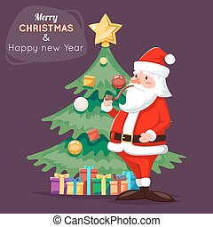 Santa Claus Character Icon Christmas Tree Background Cartoon Greeting Card Template Poster Vector illustration