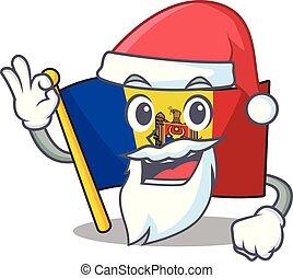 santa claus character on the cartoon flag moldova