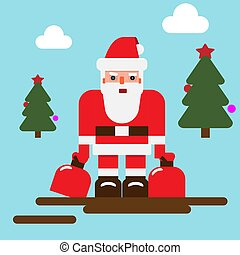 Santa Claus character with minimalistic style. Solid and ...