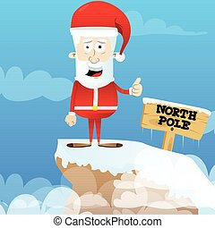 Santa Claus character with thumb up gesture.