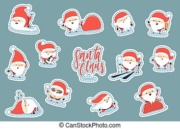 Santa Claus characters of Christmas. Quirky cartoon patch cute sticker flat.