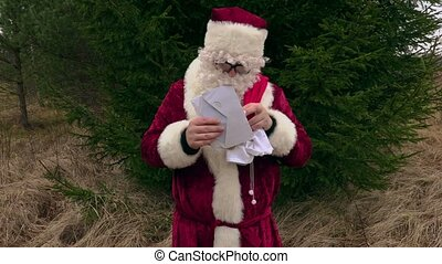 Santa Claus checking letters