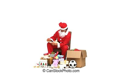 Santa Claus checking present