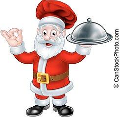 santa claus, chef, navidad, caricatura, carácter
