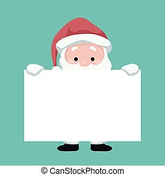 Santa Claus Christmas card with blank sign