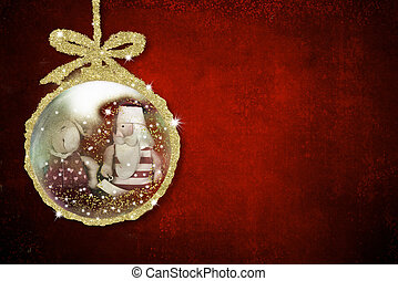 Background for writing christmas cards, Santa Claus and reindeer old doll inside xmax ball on red background with copy space.