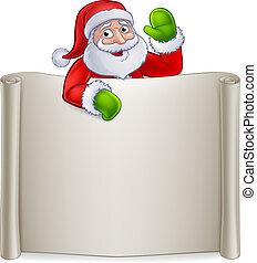 Santa Claus Christmas Cartoon Character Sign