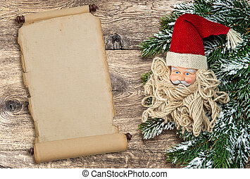 Santa Claus christmas decoration with vintage scroll paper