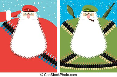 Santa Claus Christmas Defender. Military grandfather with beard and moustache in protective clothing. New year soldier in green beret. Military equipment: automatic and machine-gun belt, ammunition belt. Bold festive character is veteran of fighting.