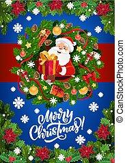 Santa Claus, Christmas gifts in Xmas wreath frame