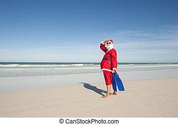 Santa Claus Christmas Holiday Beach - Santa Claus standing ...