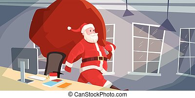 Santa Claus Christmas Holiday Big Present Bag Gift Coming To...
