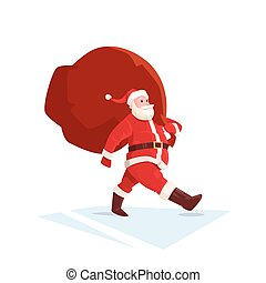 Santa Claus Christmas Holiday Big Present Bag Gift Flat...