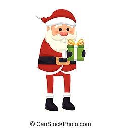 santa claus man with a gift box. merry christmas season symbol. vector illustration