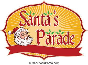 Santa Claus Christmas Parade Retro - Retro style...