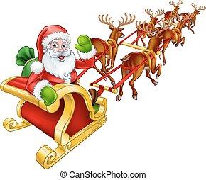 Santa Claus Christmas Reindeer and Sled Sleigh - Cartoon...