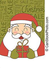 christmas sale - santa claus christmas sale, vintage style. ...