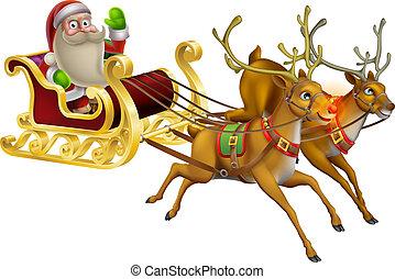 Santa Claus Christmas Sleigh - A Santa Claus Christmas...