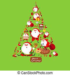 Santa Claus, Christmas tree, set