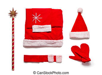 Santa Claus clothes on white background
