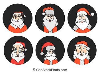 Santa Claus colorful round icons set.