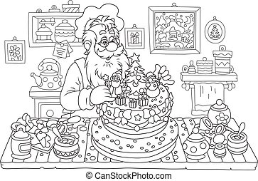 Santa Claus cooking a cake - Black and white vector...