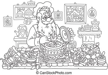 Santa Claus cooking - Black and white vector illustration of...