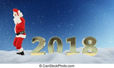 Santa Claus dance and 2018 against snow