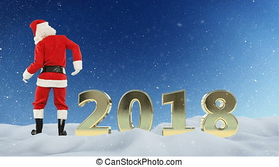 Santa Claus dance and 2018 text, snow