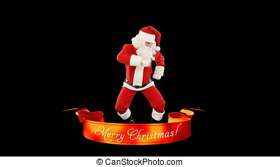 Santa Claus Dance, Merry Christmas ribbon