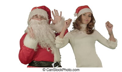 Santa claus dance with Attractive Christmas lady on white background